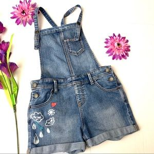 Girls Jean Floral Short Overall Sz Large